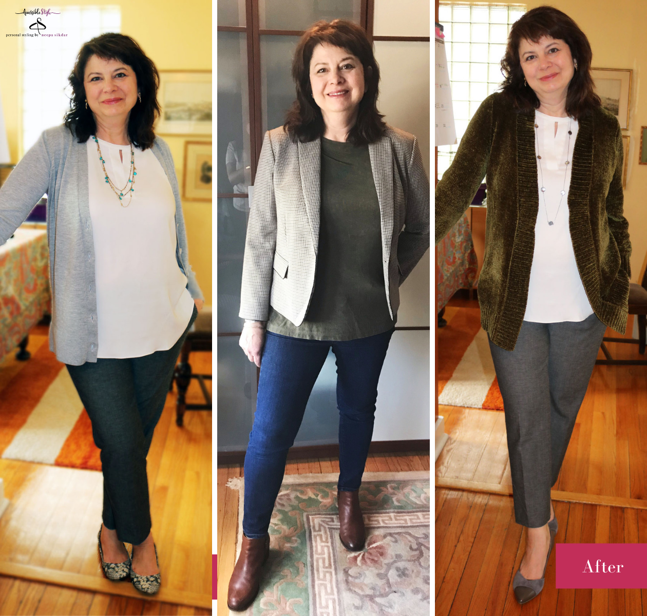 New Jersey Accessible Style Personal Stylist Client of Neepa Sikdar, Her story - everyday women with accessible style - Karen after