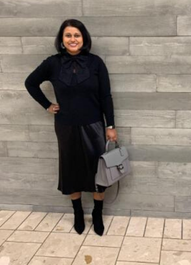 NJ Personal Stylist Neepa Sikdar Upgrade Your Boot Closet This Winter - Neepa's look - satin slip dress with a cashmere sweater and slouchy boots