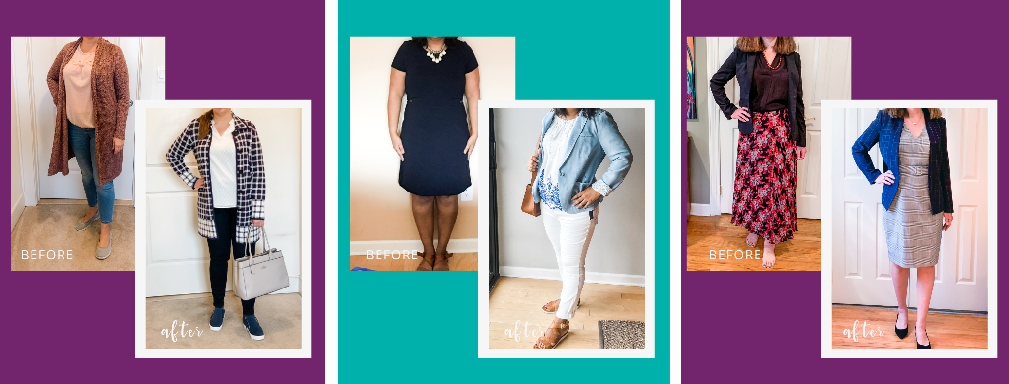 testimonials from women styled by Neepa Sikdar, creator of Rise + Style monthly membership